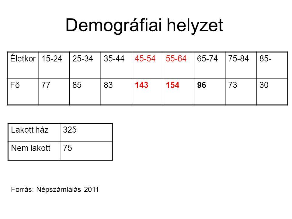 Demográfiai helyzet Életkor15-2425-3435-4445-5455-6465-7475-8485- Fő778583143154967330 Lakott ház325 Nem lakott75 Forrás: Népszámlálás 2011