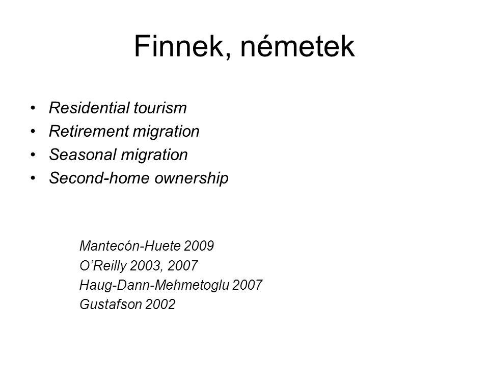 Finnek, németek •Residential tourism •Retirement migration •Seasonal migration •Second-home ownership Mantecón-Huete 2009 O'Reilly 2003, 2007 Haug-Dan