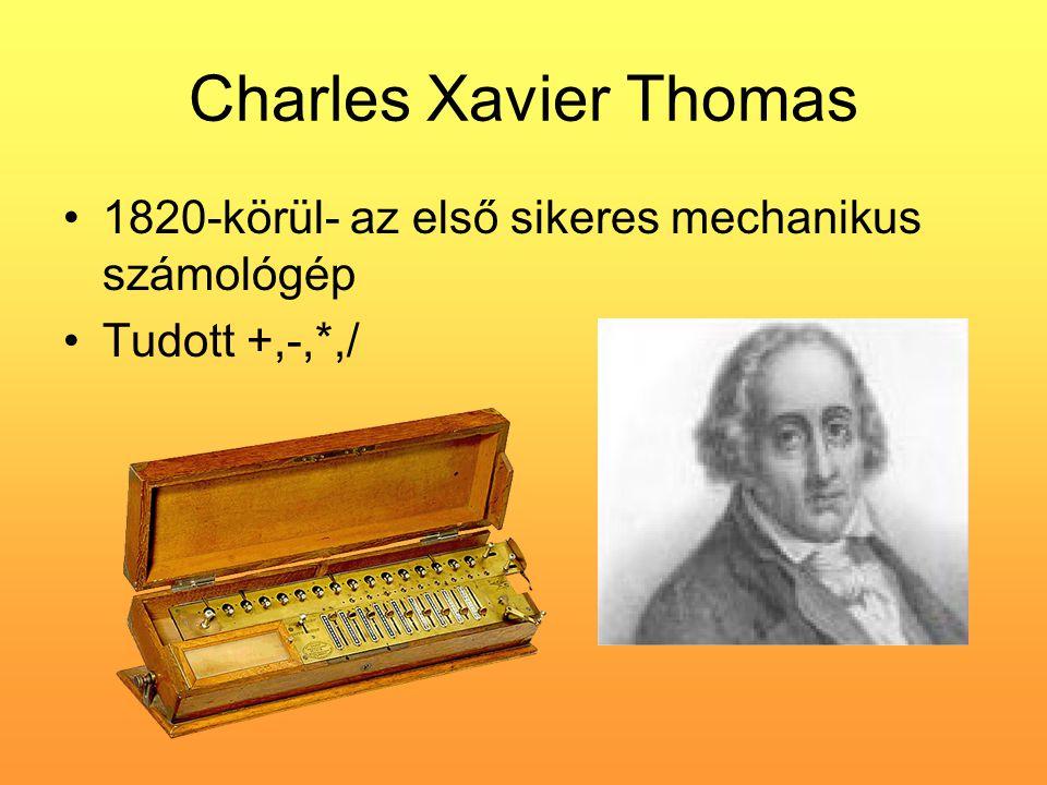 Charles Xavier Thomas •1820-körül- az első sikeres mechanikus számológép •Tudott +,-,*,/