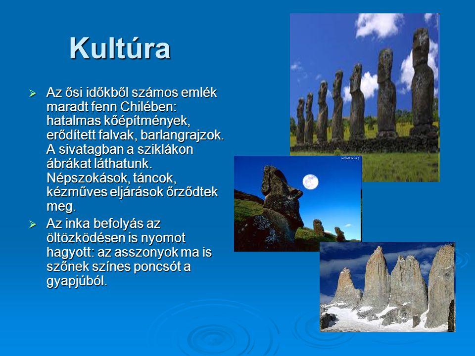 Kultúra  Az ősi időkből számos emlék maradt fenn Chilében: hatalmas kőépítmények, erődített falvak, barlangrajzok.
