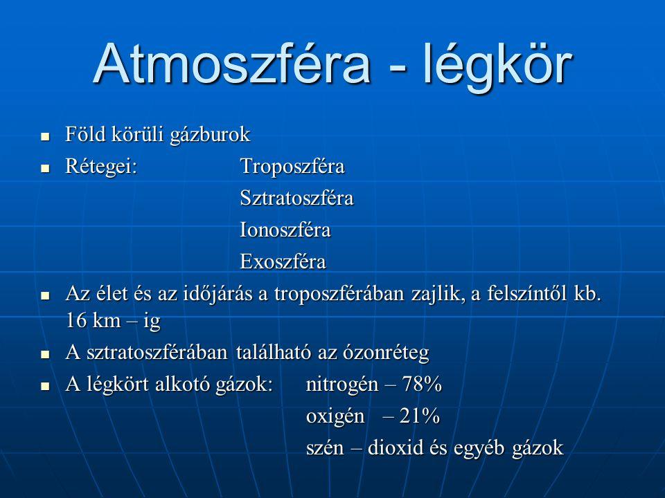 Atmoszféra - légkör  Föld körüli gázburok  Rétegei:Troposzféra SztratoszféraIonoszféraExoszféra  Az élet és az időjárás a troposzférában zajlik, a
