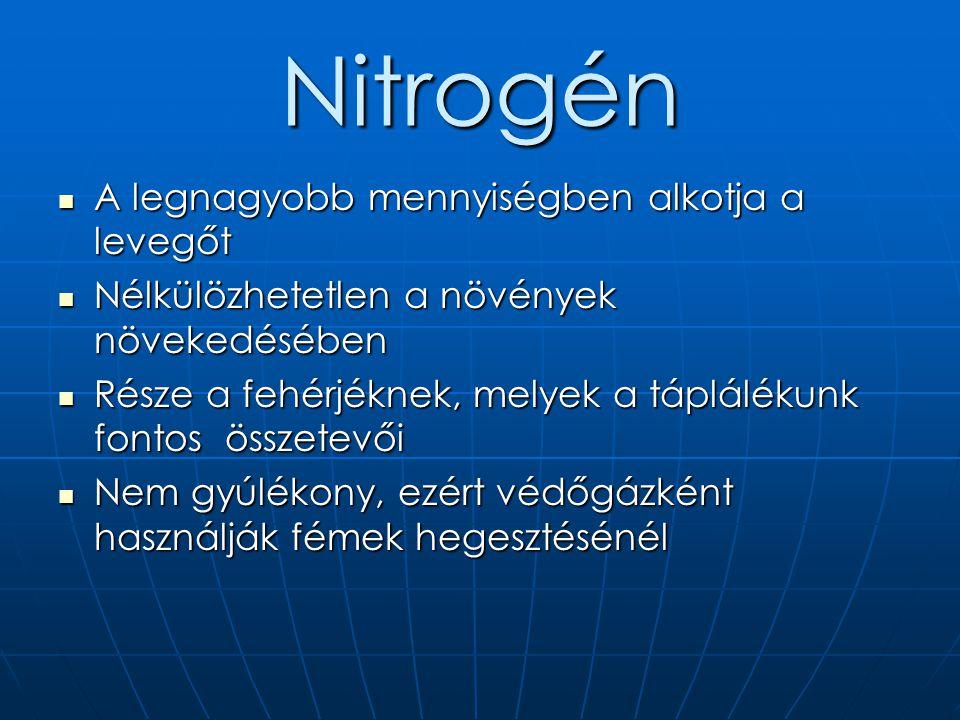 Nitrogén  A legnagyobb mennyiségben alkotja a levegőt  Nélkülözhetetlen a növények növekedésében  Része a fehérjéknek, melyek a táplálékunk fontos