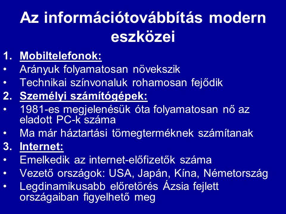 Az információtovábbítás modern eszközei 1.Mobiltelefonok: •Arányuk folyamatosan növekszik •Technikai színvonaluk rohamosan fejődik 2.Személyi számítóg