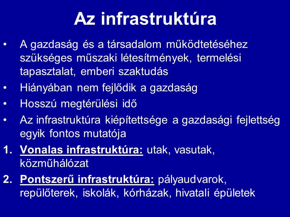 Az infrastruktúra •A gazdaság és a társadalom működtetéséhez szükséges műszaki létesítmények, termelési tapasztalat, emberi szaktudás •Hiányában nem f