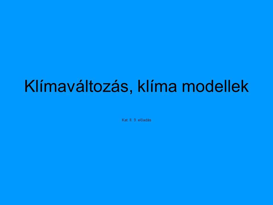 Klímaváltozás, klíma modellek Kat. II. 9. előadás
