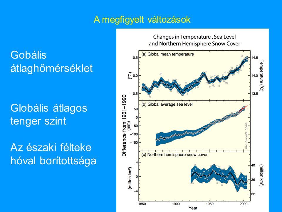 A megfigyelt változások Gobális átlaghőmérséklet Globális átlagos tenger szint Az északi félteke hóval borítottsága