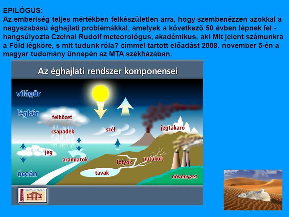 EPILÓGUS: Az emberiség teljes mértékben felkészületlen arra, hogy szembenézzen azokkal a nagyszabású éghajlati problémákkal, amelyek a következő 50 évben lépnek fel - hangsúlyozta Czelnai Rudolf meteorológus, akadémikus, aki Mit jelent számunkra a Föld légköre, s mit tudunk róla.