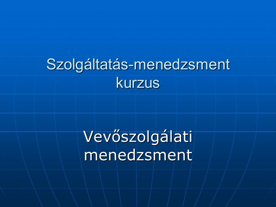 Szolgáltatás-menedzsment kurzus Vevőszolgálati menedzsment
