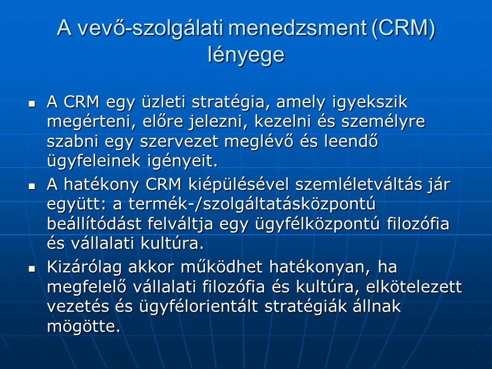 A vevő-szolgálati menedzsment (CRM) lényege  A CRM egy üzleti stratégia, amely igyekszik megérteni, előre jelezni, kezelni és személyre szabni egy sz
