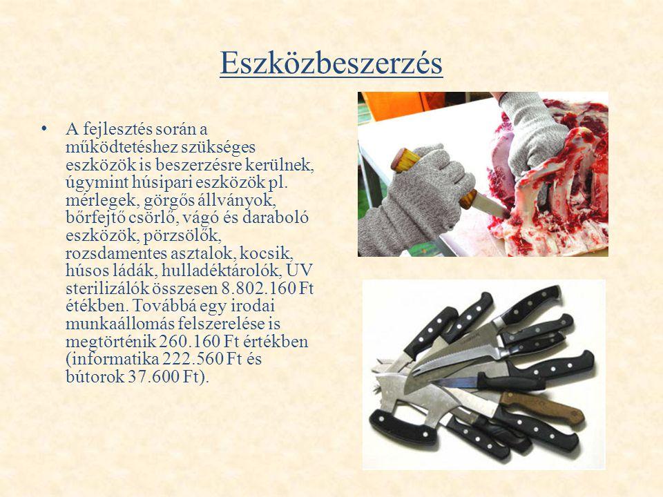Eszközbeszerzés • A fejlesztés során a működtetéshez szükséges eszközök is beszerzésre kerülnek, úgymint húsipari eszközök pl. mérlegek, görgős állván