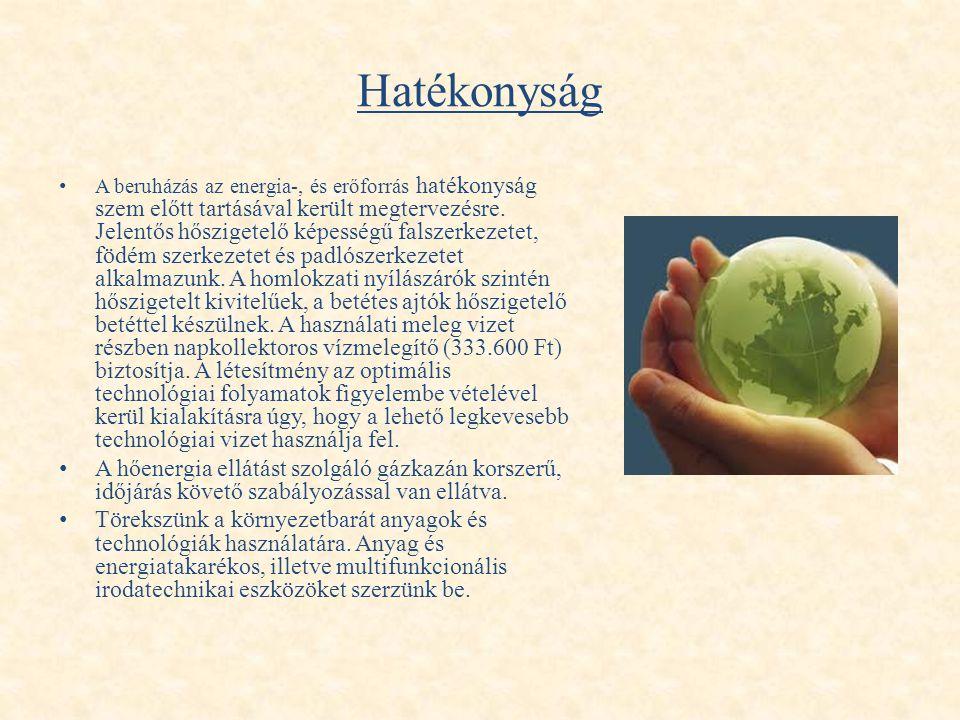 Hatékonyság • A beruházás az energia-, és erőforrás hatékonyság szem előtt tartásával került megtervezésre. Jelentős hőszigetelő képességű falszerkeze