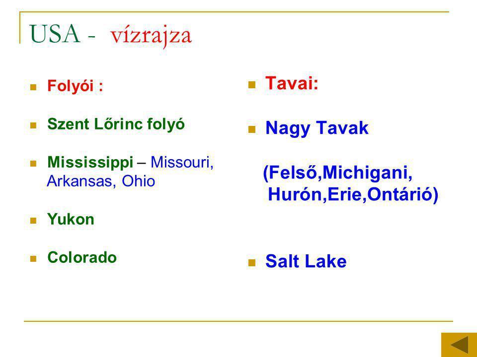 USA - vízrajza  Folyói :  Szent Lőrinc folyó  Mississippi – Missouri, Arkansas, Ohio  Yukon  Colorado  Tavai:  Nagy Tavak (Felső,Michigani, Hur