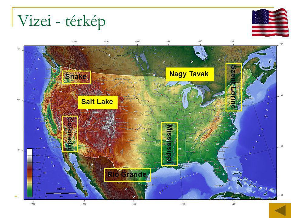 Vizei - térkép Colorado Mississippi Szent Lőrinc Rio Grande Snake Salt Lake Nagy Tavak