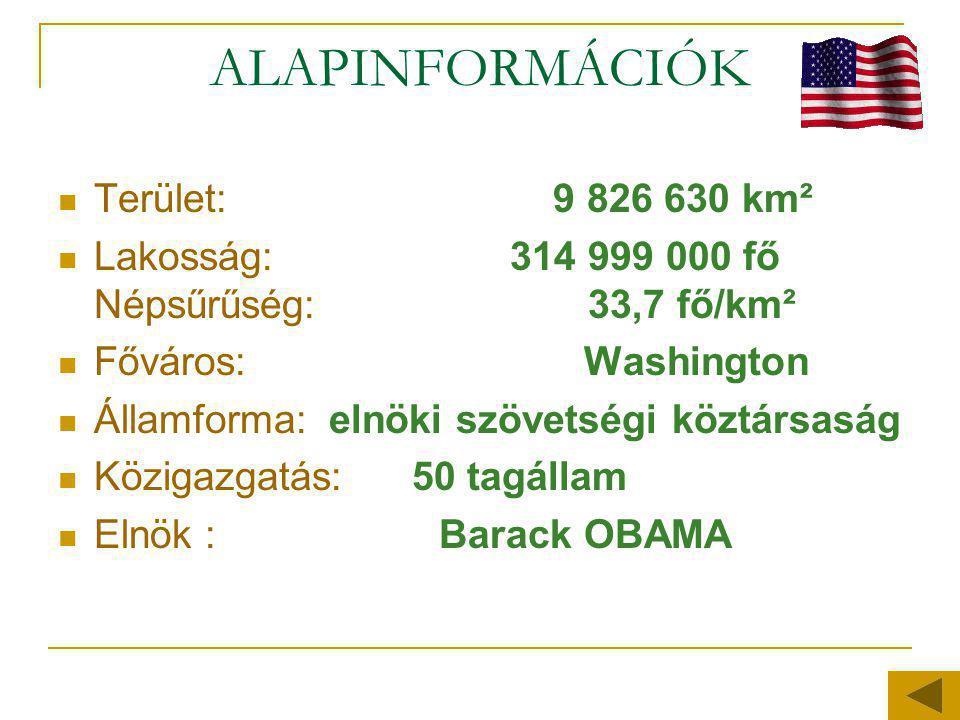ALAPINFORMÁCIÓK  Terület: 9 826 630 km²  Lakosság: 314 999 000 fő Népsűrűség: 33,7 fő/km²  Főváros: Washington  Államforma: elnöki szövetségi közt