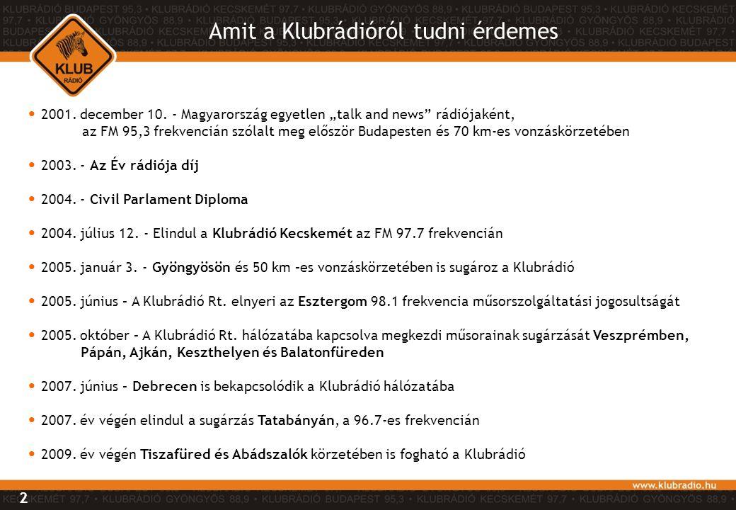 """Amit a Klubrádióról tudni érdemes 2 • 2001. december 10. - Magyarország egyetlen """"talk and news"""" rádiójaként, az FM 95,3 frekvencián szólalt meg elősz"""