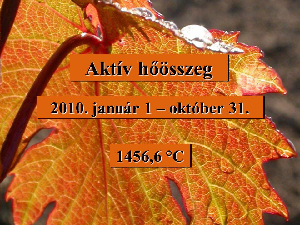 Aktív hőösszeg 2010. január 1 – október 31. 1456,6 °C 1456,6 °C