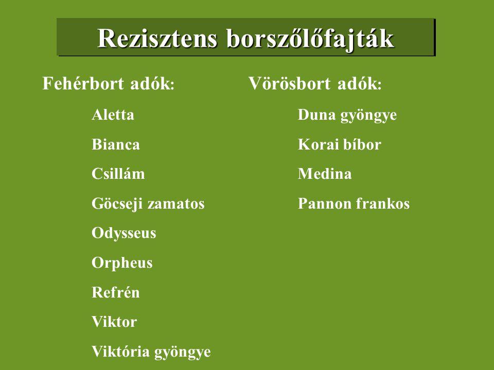 Rezisztens borszőlőfajták Fehérbort adók : Aletta Bianca Csillám Göcseji zamatos Odysseus Orpheus Refrén Viktor Viktória gyöngye Vörösbort adók : Duna