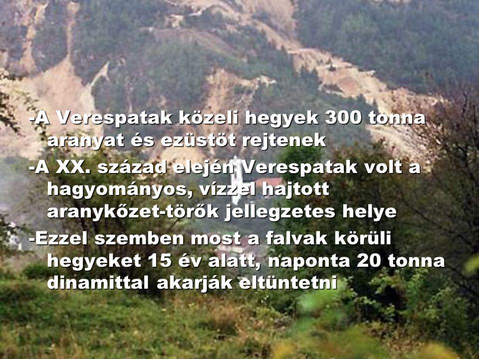 -A Verespatak közeli hegyek 300 tonna aranyat és ezüstöt rejtenek -A XX. század elején Verespatak volt a hagyományos, vízzel hajtott aranykőzet-törők