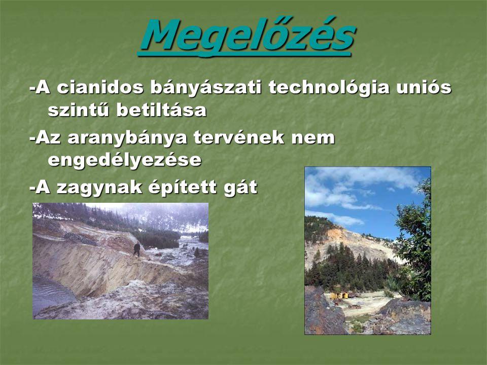 Megelőzés -A cianidos bányászati technológia uniós szintű betiltása -Az aranybánya tervének nem engedélyezése -A zagynak épített gát