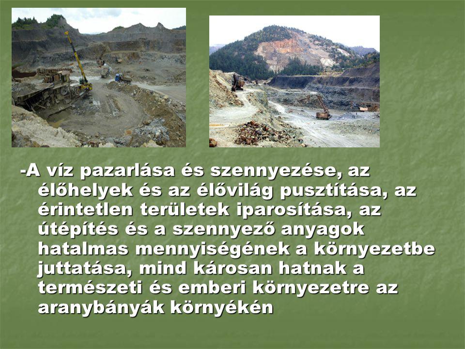 -A víz pazarlása és szennyezése, az élőhelyek és az élővilág pusztítása, az érintetlen területek iparosítása, az útépítés és a szennyező anyagok hatal