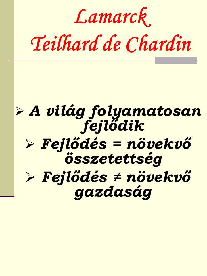 Lamarck Teilhard de Chardin  A világ folyamatosan fejlődik  Fejlődés = növekvő összetettség  Fejlődés ≠ növekvő gazdaság