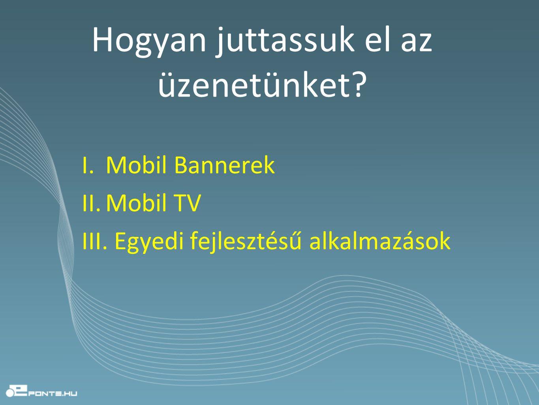 Hogyan juttassuk el az üzenetünket? I. Mobil Bannerek II. Mobil TV III. Egyedi fejlesztésű alkalmazások