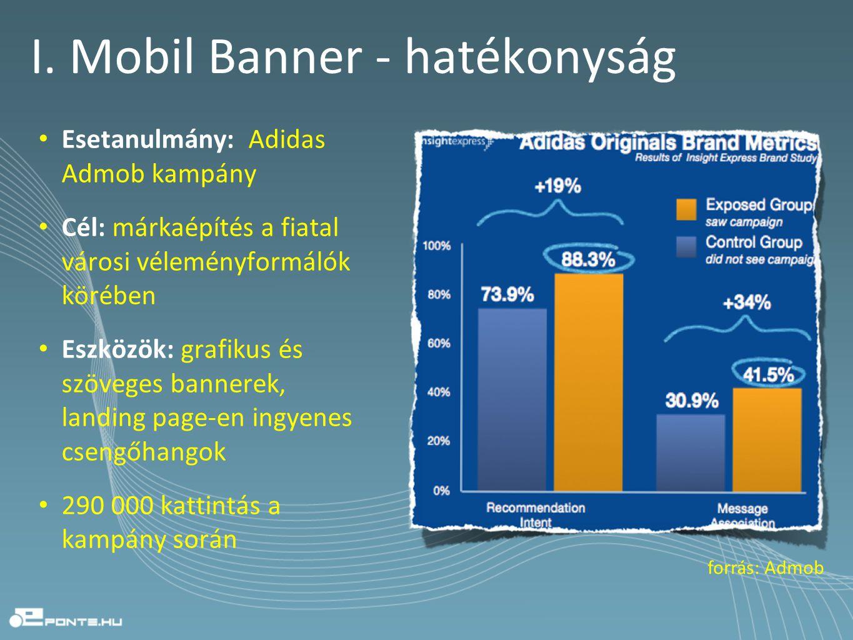 I. Mobil Banner - hatékonyság • Esetanulmány: Adidas Admob kampány • Cél: márkaépítés a fiatal városi véleményformálók körében • Eszközök: grafikus és