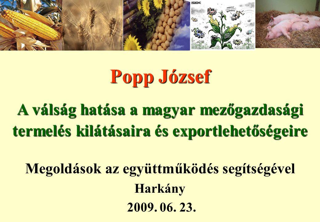 Popp József A válság hatása a magyar mezőgazdasági termelés kilátásaira és exportlehetőségeire Megoldások az együttműködés segítségével Harkány 2009.