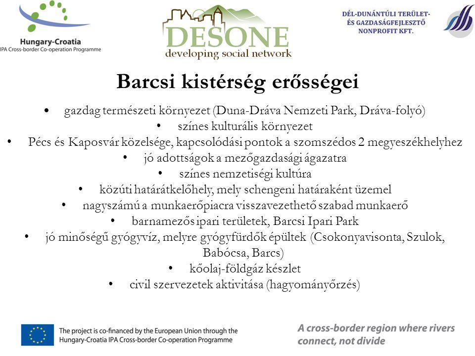 Barcsi kistérség erősségei • gazdag természeti környezet (Duna-Dráva Nemzeti Park, Dráva-folyó) • színes kulturális környezet • Pécs és Kaposvár közelsége, kapcsolódási pontok a szomszédos 2 megyeszékhelyhez • jó adottságok a mezőgazdasági ágazatra • színes nemzetiségi kultúra • közúti határátkelőhely, mely schengeni határaként üzemel • nagyszámú a munkaerőpiacra visszavezethető szabad munkaerő • barnamezős ipari területek, Barcsi Ipari Park • jó minőségű gyógyvíz, melyre gyógyfürdők épültek (Csokonyavisonta, Szulok, Babócsa, Barcs) • kőolaj-földgáz készlet • civil szervezetek aktivitása (hagyományőrzés)