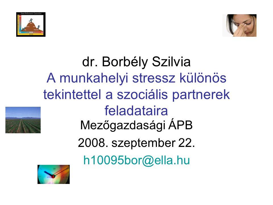 dr. Borbély Szilvia A munkahelyi stressz különös tekintettel a szociális partnerek feladataira Mezőgazdasági ÁPB 2008. szeptember 22. h10095bor@ella.h