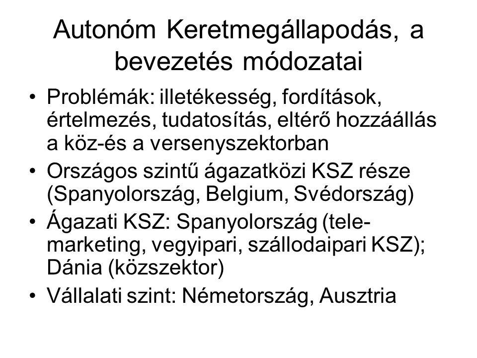 Autonóm Keretmegállapodás, a bevezetés módozatai •Problémák: illetékesség, fordítások, értelmezés, tudatosítás, eltérő hozzáállás a köz-és a versenysz