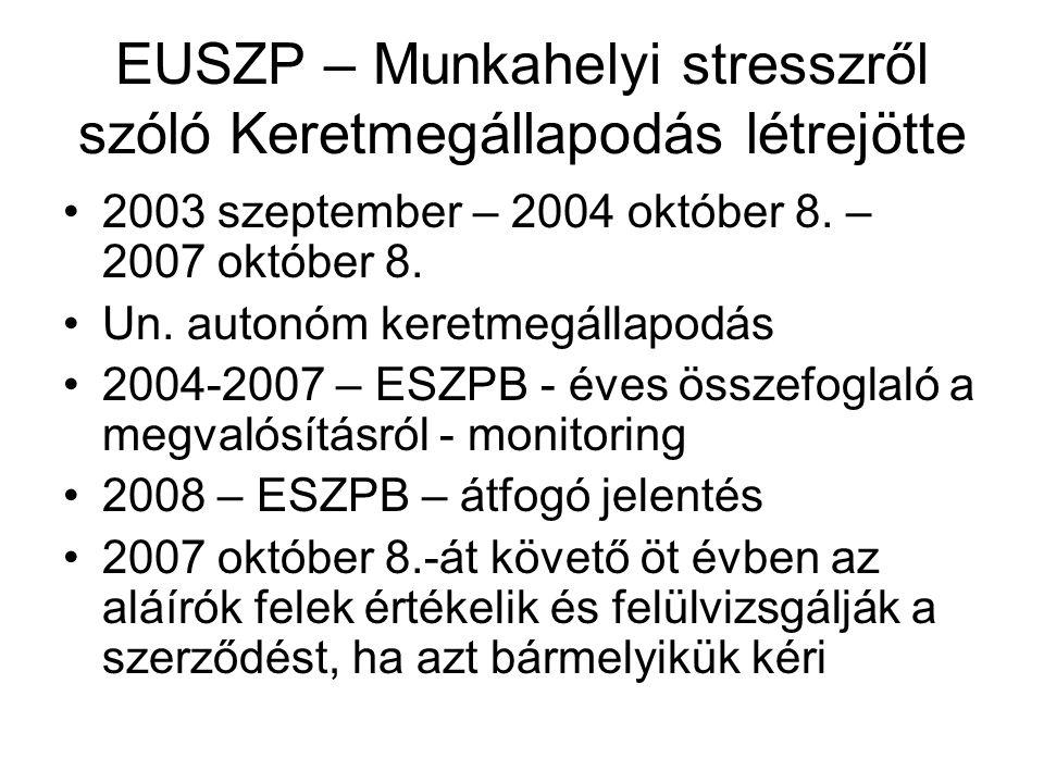 EUSZP – Munkahelyi stresszről szóló Keretmegállapodás létrejötte •2003 szeptember – 2004 október 8. – 2007 október 8. •Un. autonóm keretmegállapodás •