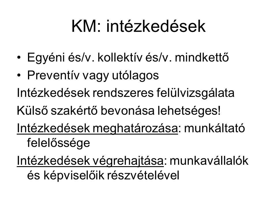 KM: intézkedések •Egyéni és/v. kollektív és/v. mindkettő •Preventív vagy utólagos Intézkedések rendszeres felülvizsgálata Külső szakértő bevonása lehe