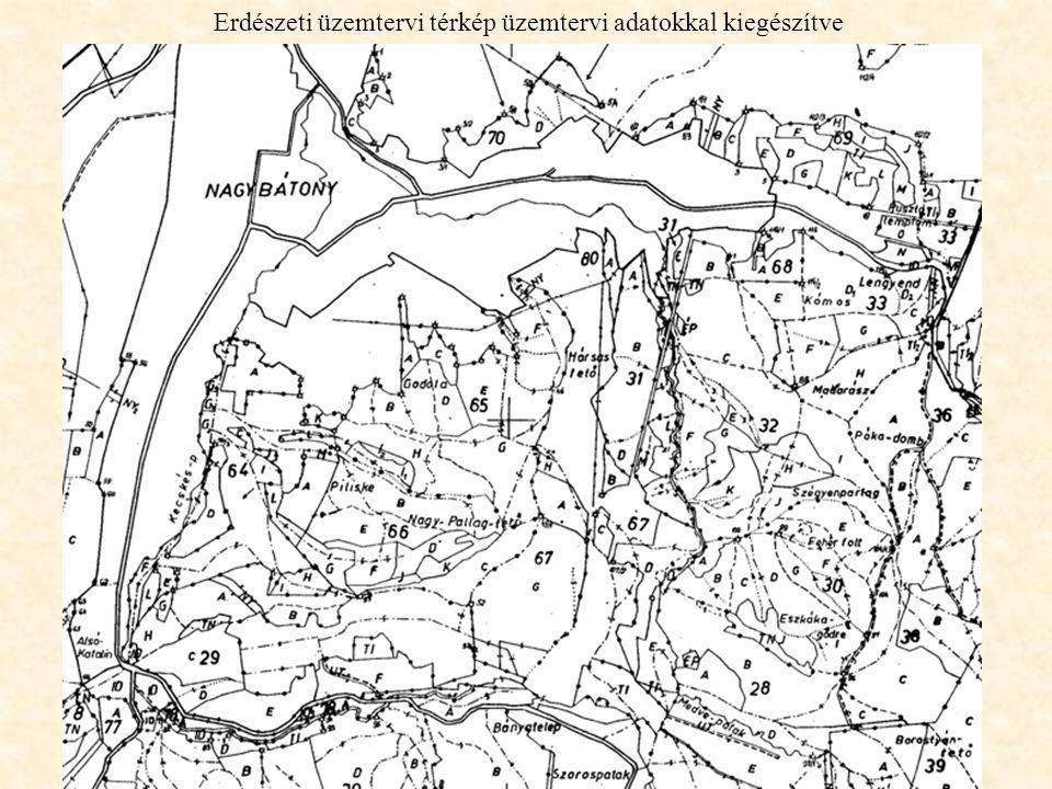 Erdészeti üzemtervi térkép üzemtervi adatokkal kiegészítve