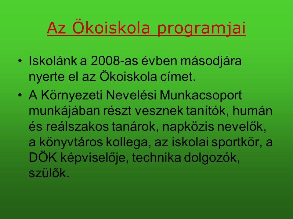 Az Ökoiskola programjai •Iskolánk a 2008-as évben másodjára nyerte el az Ökoiskola címet. •A Környezeti Nevelési Munkacsoport munkájában részt vesznek