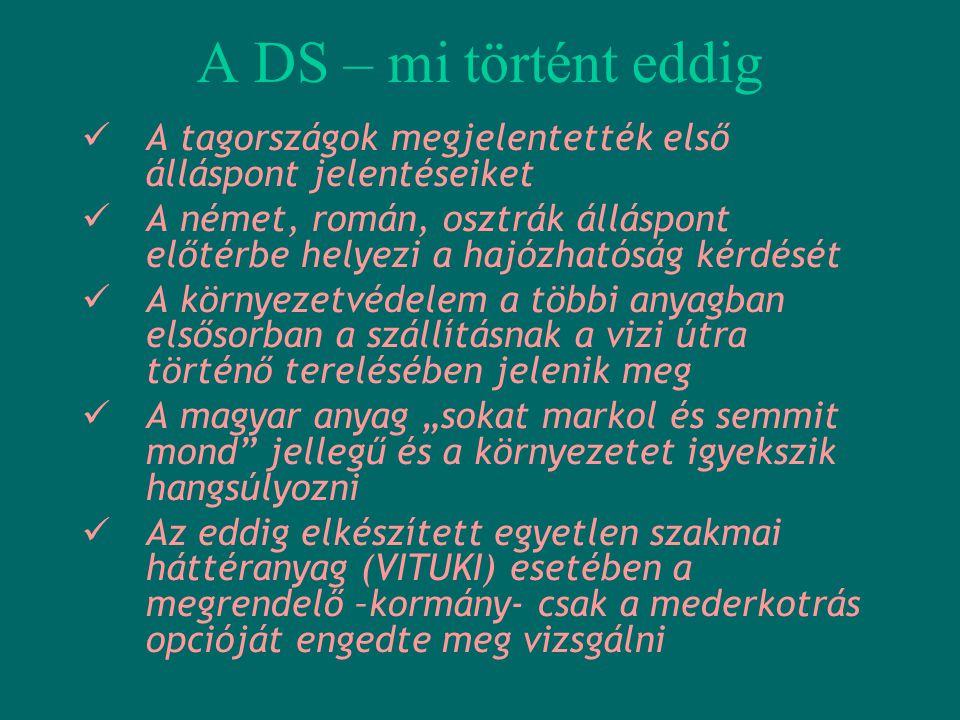 A DS – mi történt eddig  A tagországok megjelentették első álláspont jelentéseiket  A német, román, osztrák álláspont előtérbe helyezi a hajózhatósá
