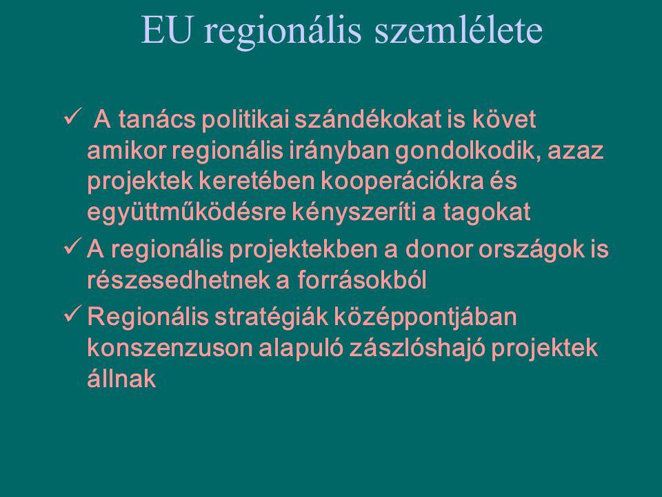 EU regionális szemlélete  A tanács politikai szándékokat is követ amikor regionális irányban gondolkodik, azaz projektek keretében kooperációkra és e