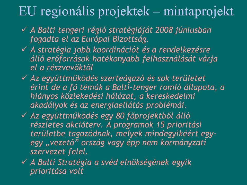 EU regionális projektek – mintaprojekt  A Balti tengeri régió stratégiáját 2008 júniusban fogadta el az Európai Bizottság.  A stratégia jobb koordin