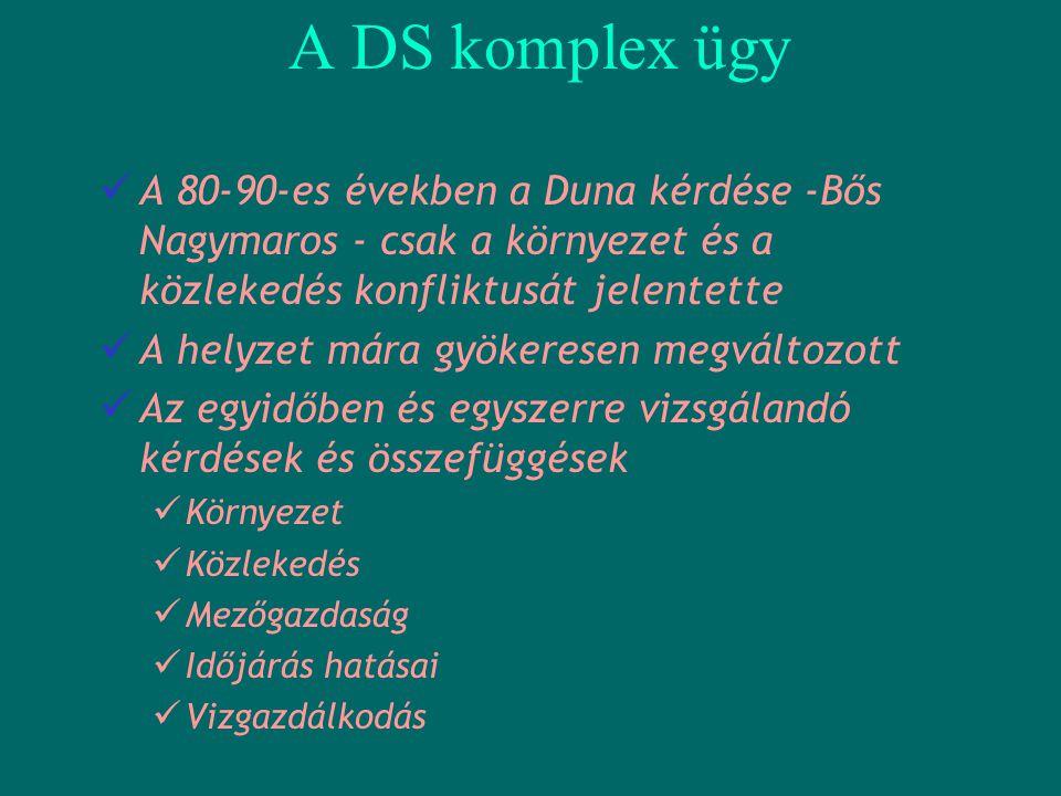 A DS komplex ügy  A 80-90-es években a Duna kérdése -Bős Nagymaros - csak a környezet és a közlekedés konfliktusát jelentette  A helyzet mára gyöker