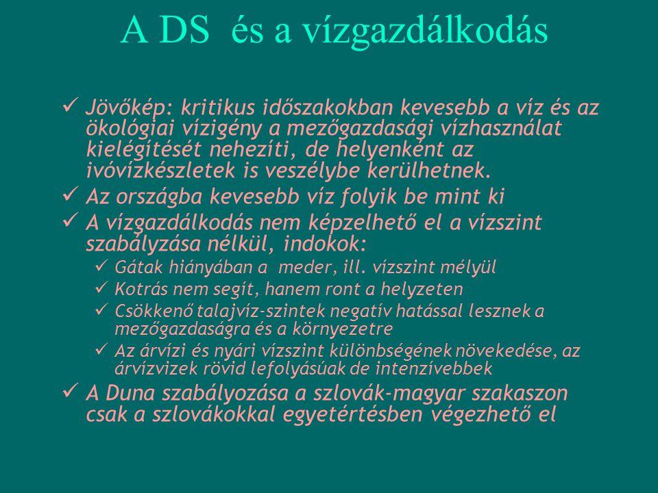 A DS makro-ökonómiai hatásai  A Duna Stratégia magában hordozza a gazdasági fellendülés és az ezzel összefüggő munkahelyteremtés lehetőségét  A meghatározandó magyar zászlóshajó projektek ágazati hatásai előreláthatóak és mérhetőek lesznek  Példaképpen – ha 2% GDP növekedést feltételezünk, ez felosztható:  Mezőgazdaság 1-2%  Megújuló erőforrások (Vizi energia) 0.5-0.6%  Turisztika 0.3-0.4%  Logisztika 0.2-0.3% (Az adatok tájékozató jellegűek és pontosításra szorulnak)  Az Európai Duna Stratégiánk az EU költségvetési támogatásának hatásfokát fogja befolyásolni  Nagy hiba volna a forrásokat sok kis jelentőségű projektekre szétosztani,ez csak a társadalomi elégedettség hamis látszatát erősítené
