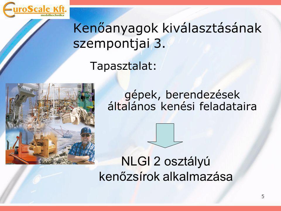 6 Kenőanyagok NLGI mérése és osztályozása NLGI osztályPenetráció DIN 51804 Állag 000445-475Folyadék 00400-430Folyadék 0335-385Fél-folyadék 1310-340Nagyon puha 2265-295Puha 3220-250Még puha 4175-205Fél-kemény 5130-160Kemény 685-115Nagyon kemény
