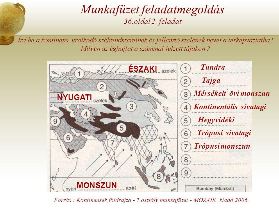 Írd be a kontinens uralkodó szélrendszereinek és jellemző szelének nevét a térképvázlatba ! Milyen az éghajlat a számmal jelzett tájakon ? Munkafüzet