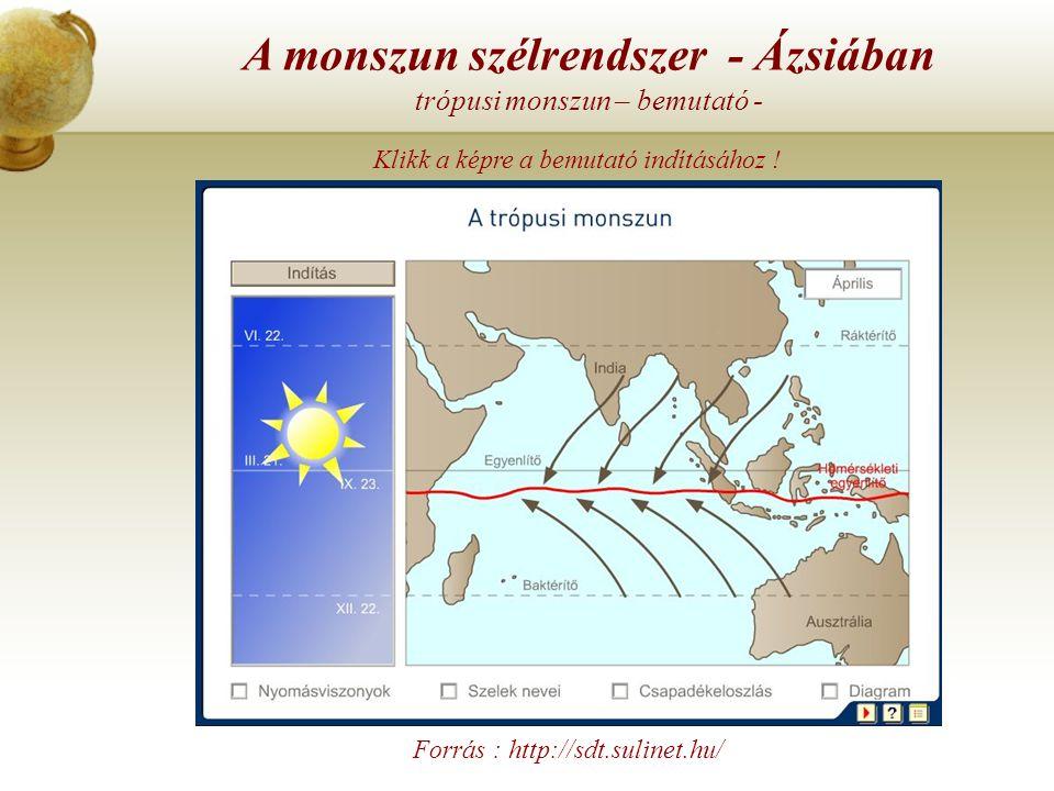 A monszun szélrendszer - Ázsiában szubtrópusi monszun – bemutató - Forrás : http://sdt.sulinet.hu/ Klikk a képre a bemutató indításához !