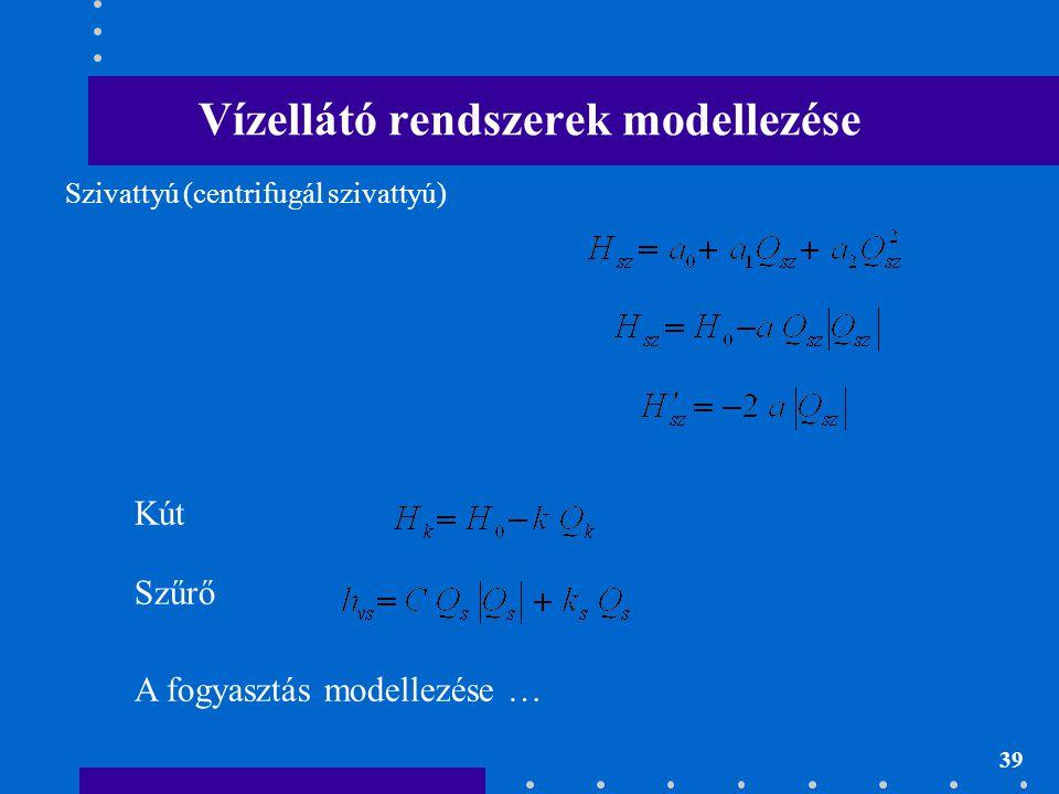 39 Vízellátó rendszerek modellezése Szivattyú (centrifugál szivattyú) Kút Szűrő A fogyasztás modellezése …