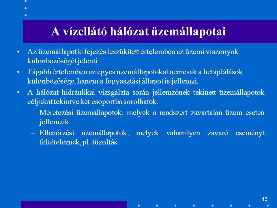 42 A vízellátó hálózat üzemállapotai •Az üzemállapot kifejezés leszűkített értelemben az üzemi viszonyok különbözőségét jelenti. •Tágabb értelemben az