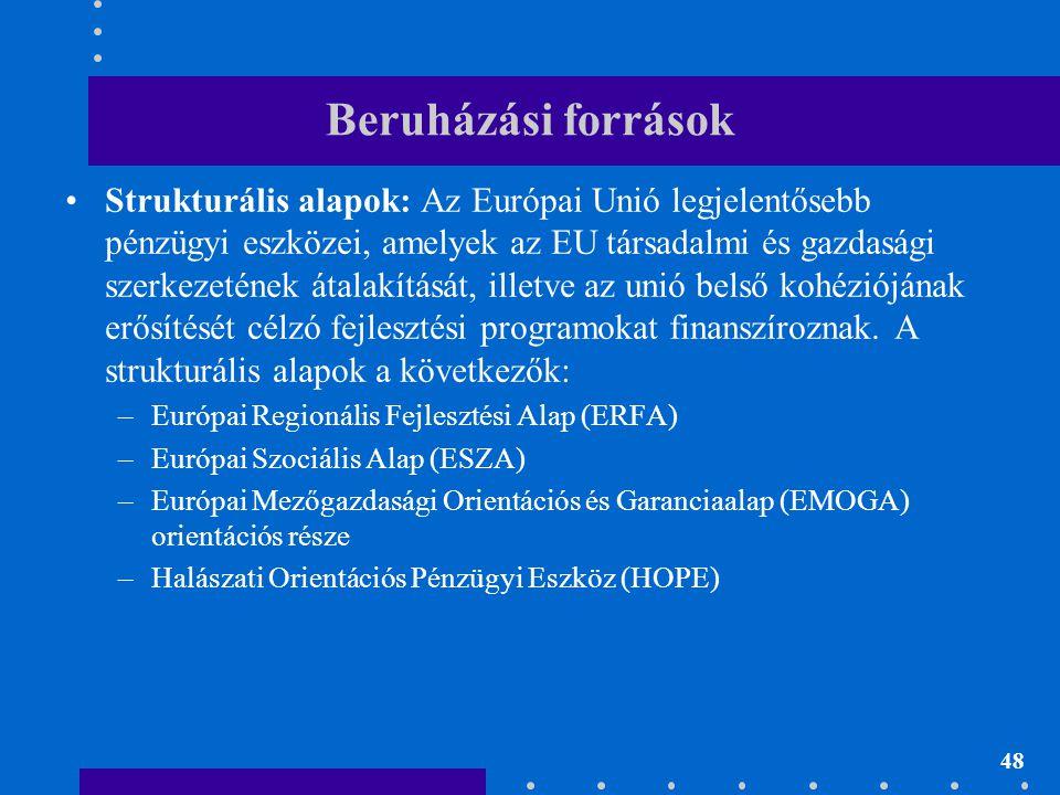 48 Beruházási források •Strukturális alapok: Az Európai Unió legjelentősebb pénzügyi eszközei, amelyek az EU társadalmi és gazdasági szerkezetének áta