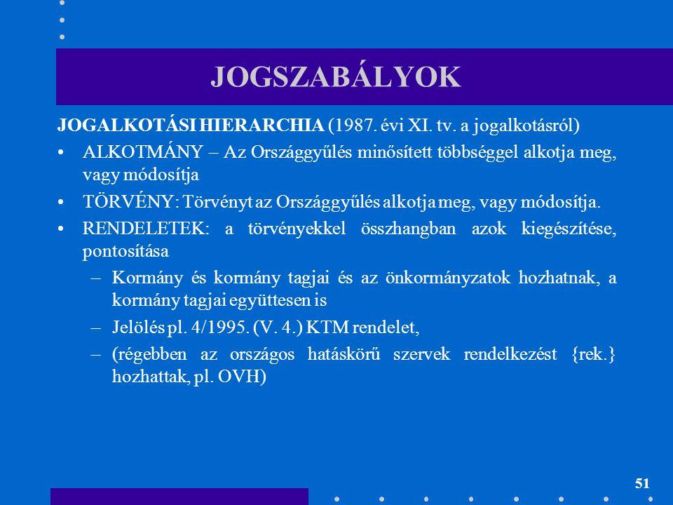 51 JOGSZABÁLYOK JOGALKOTÁSI HIERARCHIA (1987. évi XI. tv. a jogalkotásról) •ALKOTMÁNY – Az Országgyűlés minősített többséggel alkotja meg, vagy módosí