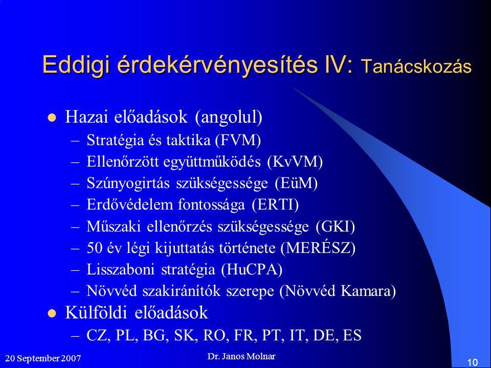 Eddigi érdekérvényesítés IV: Tanácskozás  Hazai előadások (angolul) –Stratégia és taktika (FVM) –Ellenőrzött együttműködés (KvVM) –Szúnyogirtás szükségessége (EüM) –Erdővédelem fontossága (ERTI) –Műszaki ellenőrzés szükségessége (GKI) –50 év légi kijuttatás története (MERÉSZ) –Lisszaboni stratégia (HuCPA) –Növvéd szakiránítók szerepe (Növvéd Kamara)  Külföldi előadások –CZ, PL, BG, SK, RO, FR, PT, IT, DE, ES 20 September 2007 Dr.