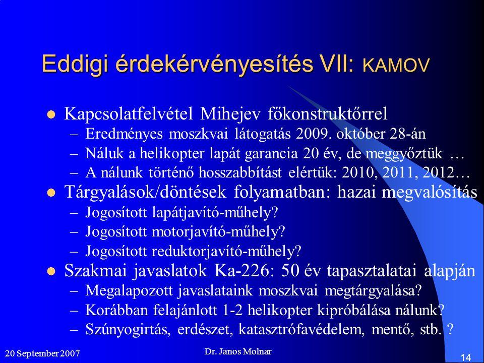 20 September 2007 Dr. Janos Molnar 14 Eddigi érdekérvényesítés VII: KAMOV  Kapcsolatfelvétel Mihejev főkonstruktőrrel –Eredményes moszkvai látogatás