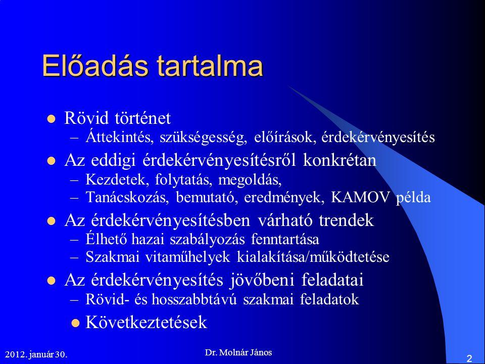2012. január 30. Dr. Molnár János 2 Előadás tartalma  Rövid történet –Áttekintés, szükségesség, előírások, érdekérvényesítés  Az eddigi érdekérvénye